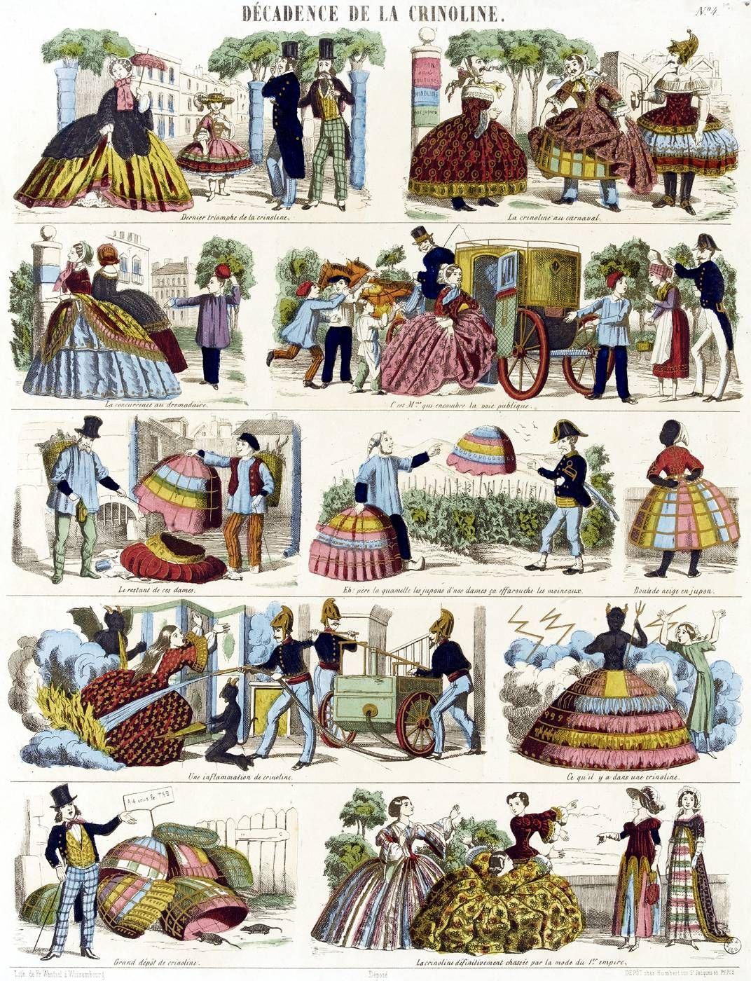 la crinoline dans tous ses états 1850 - caricature anonyme