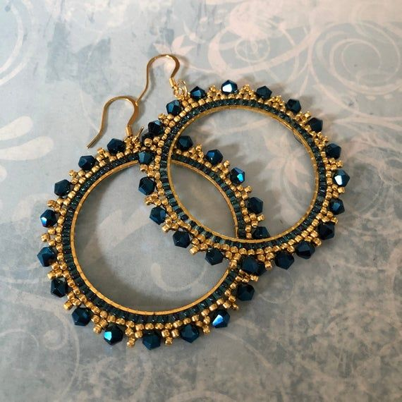 Photo of Large Royal Blue and Gold Crystal Seed Bead Hoop Earrings | Etsy
