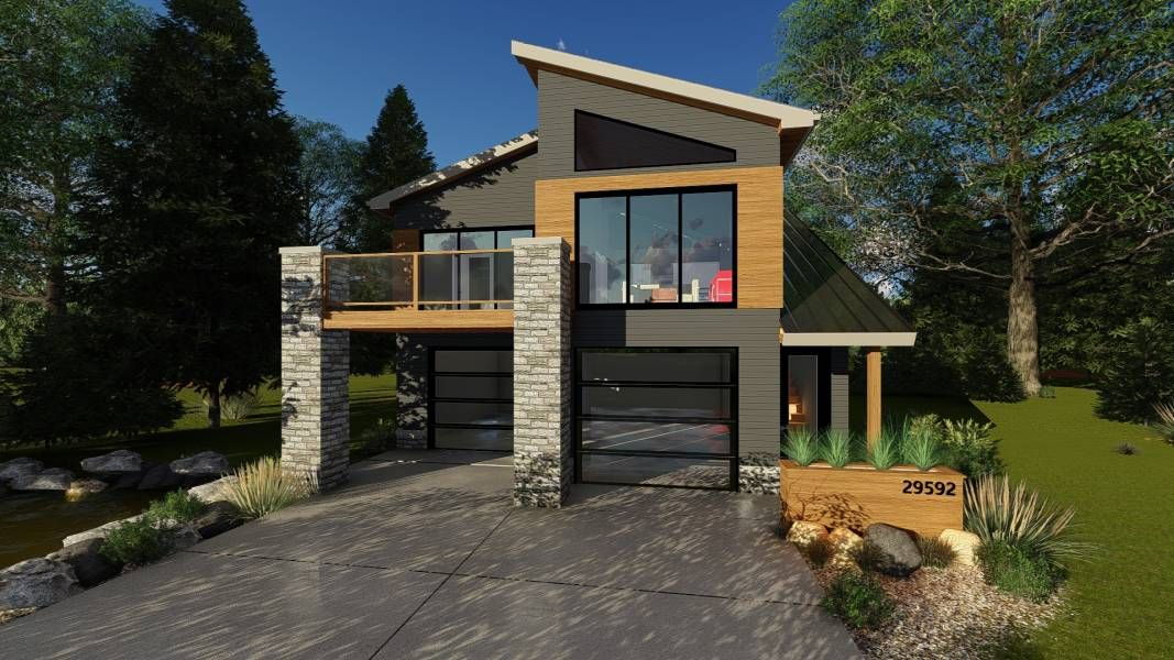 Modern 2 Car Garage With Apartment Lone Tree Carriage House Plans Contemporary House Plans Modern House Plans