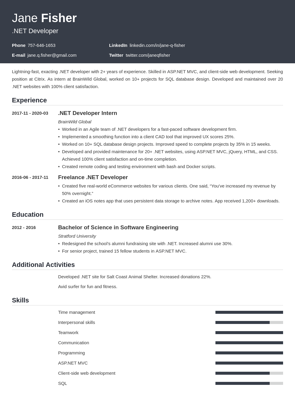 Net Developer Resume Example Template Influx Resume Examples Job Resume Examples Resume Layout