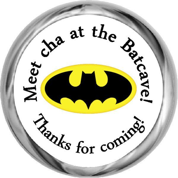 BATMAN PERSONALIZED HERSHEY KISS KISSES LABELS STICKERS BIRTHDAY PARTY FAVORS
