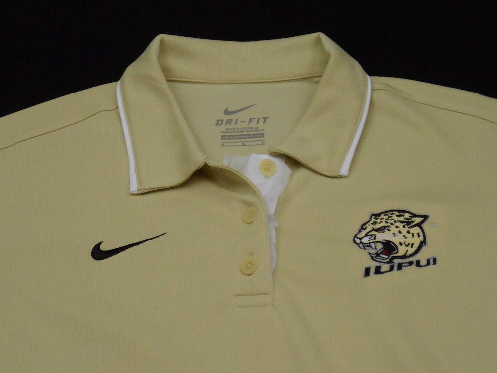 Iupui Nike Dri Fit Womens Polo Shirt Medium M 100 Polyester Old Gold New
