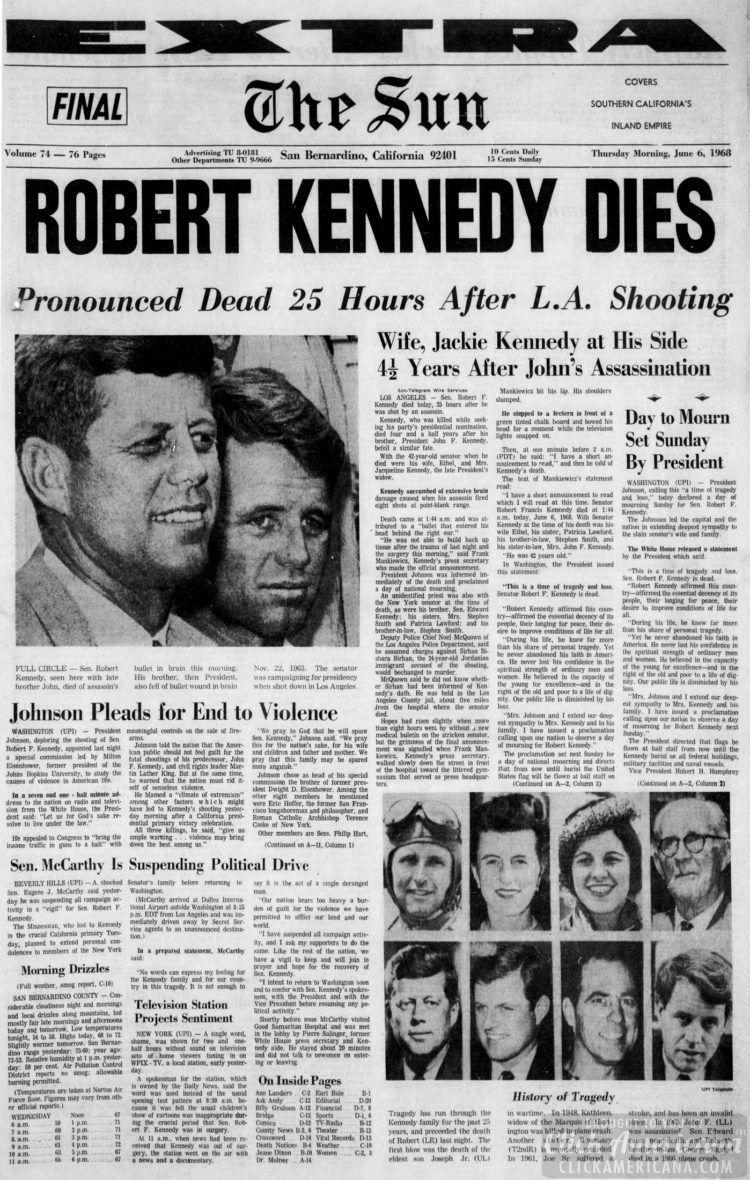 News headlines from when Senator Bobby ...