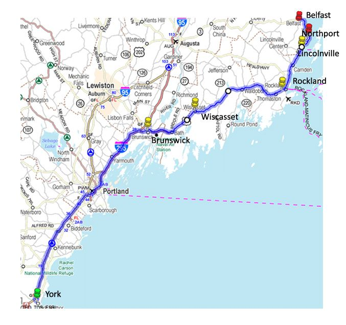 Maine road trip map New England Maps Pinterest Road trip map