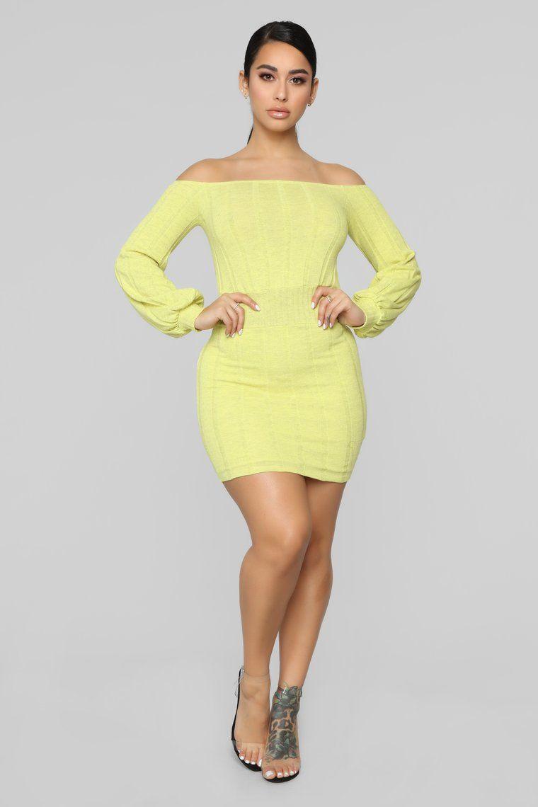 More To Offer Sweater Mini Dress Yellow Mini dress
