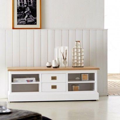 Meuble TV blanc et Chêne 130 Cottage Salon Pinterest Salons