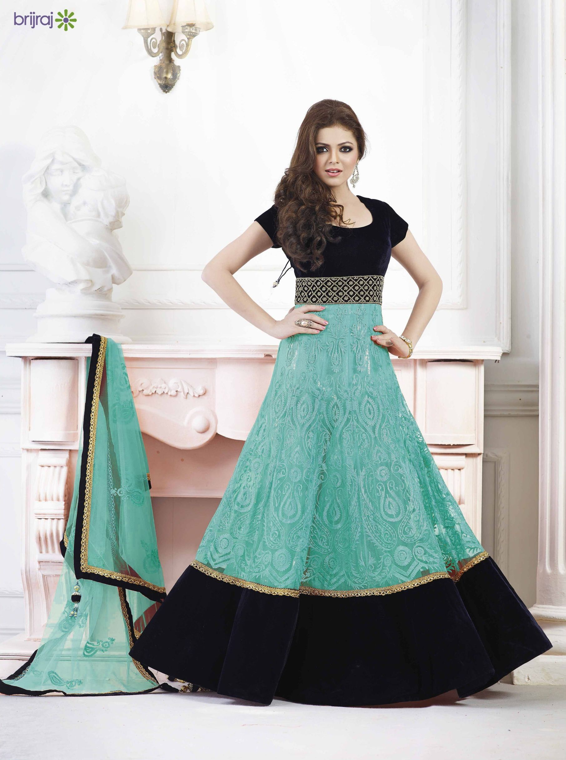 Madhubala floor length Anarkali suit in velvet and net | hot dress ...