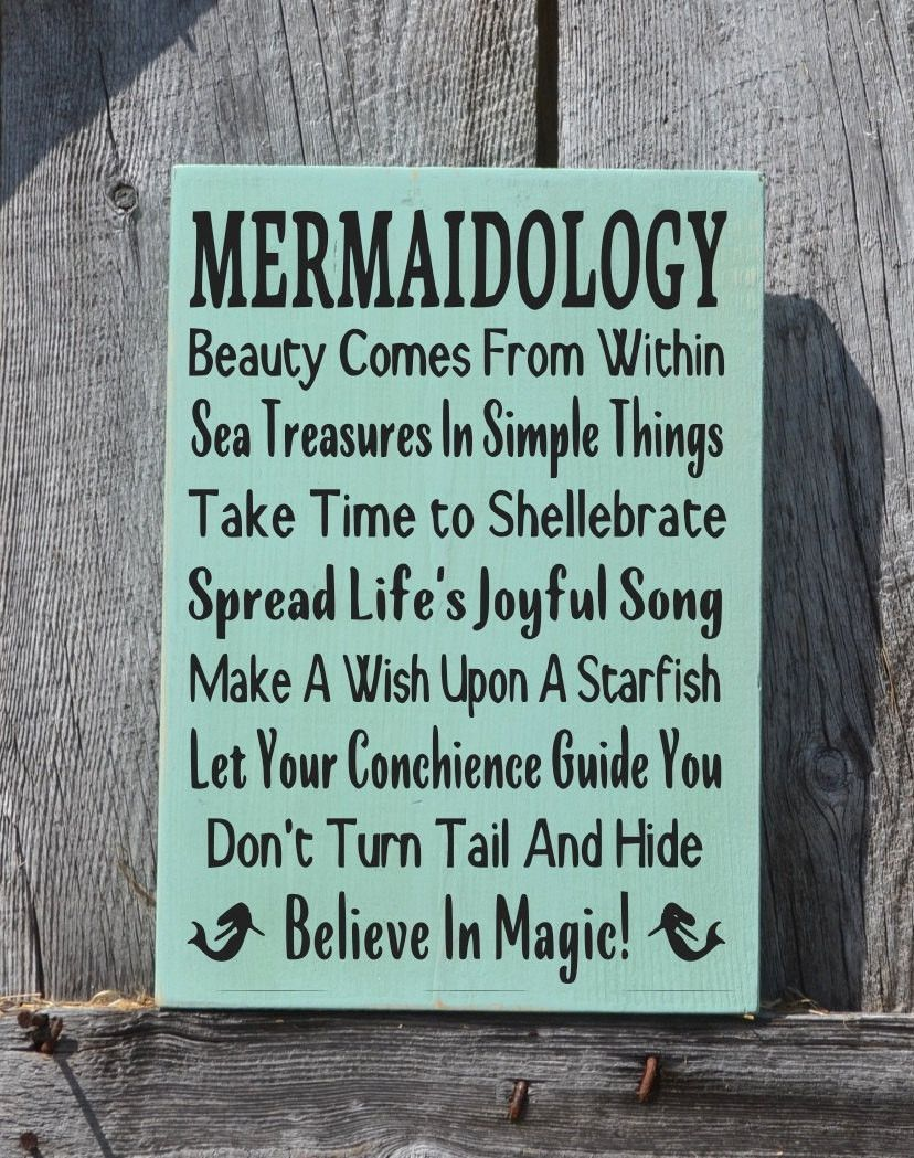 Beach Sign Decor Interesting Mermaid Decor Mermaids Sign Wall Art Beach Mermaidology Sayings Design Inspiration