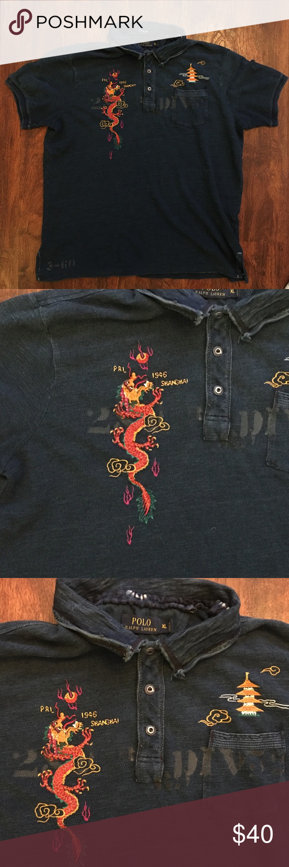 "Lauren Good Polo Condition Xl Shirt Ralph Sz Used ""1946 In Shanghai"" vmN80nOw"