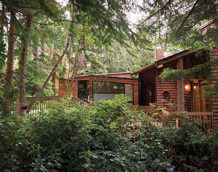 Cedar home with a modern addition in the pacific northwest for Pacific northwest homes