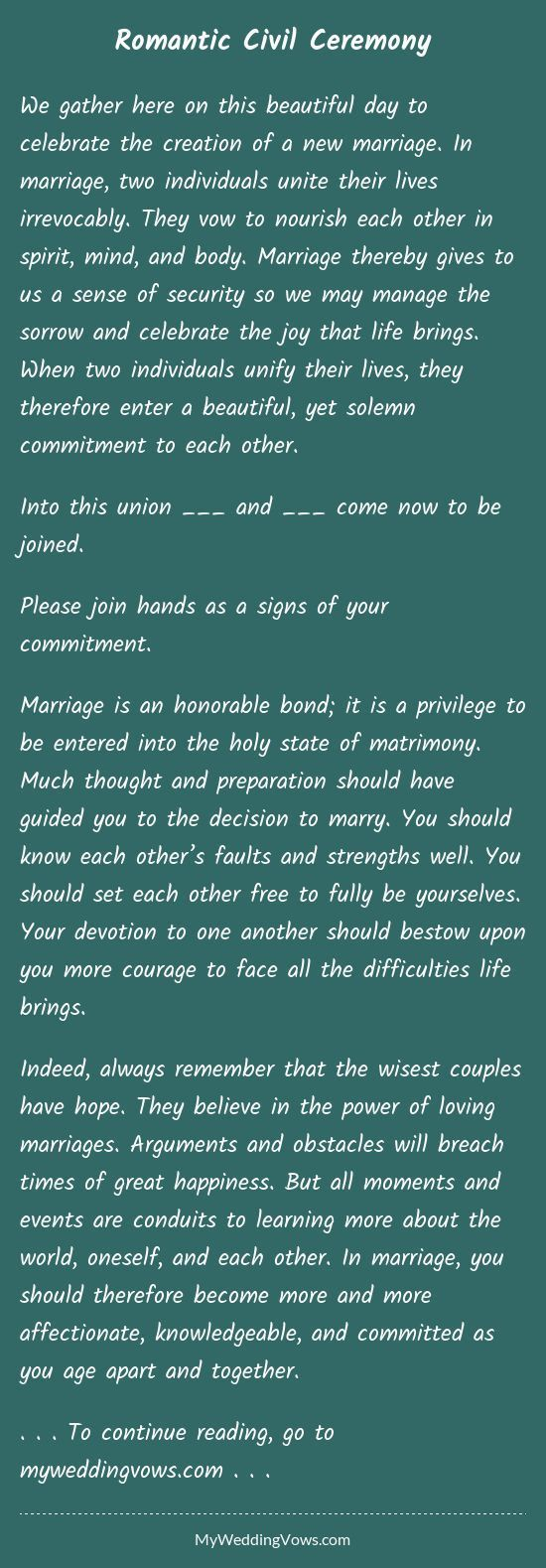 We Gather Here On This Beautiful Day To Celebrate The Creation Of A New Marriage In Wedding Ceremony Script Wedding Ceremony Readings Wedding Officiant Script