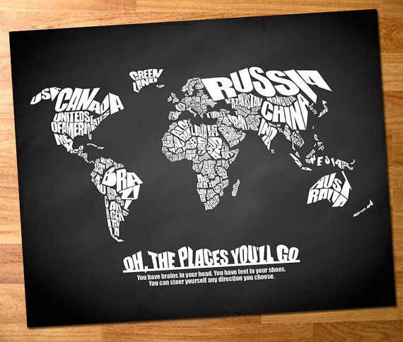 Oh the places youll go world word map with travel quote on oh the places youll go world word map with travel quote on chalkboard background dr seuss quote print canvas world map chalkboard map gumiabroncs Gallery