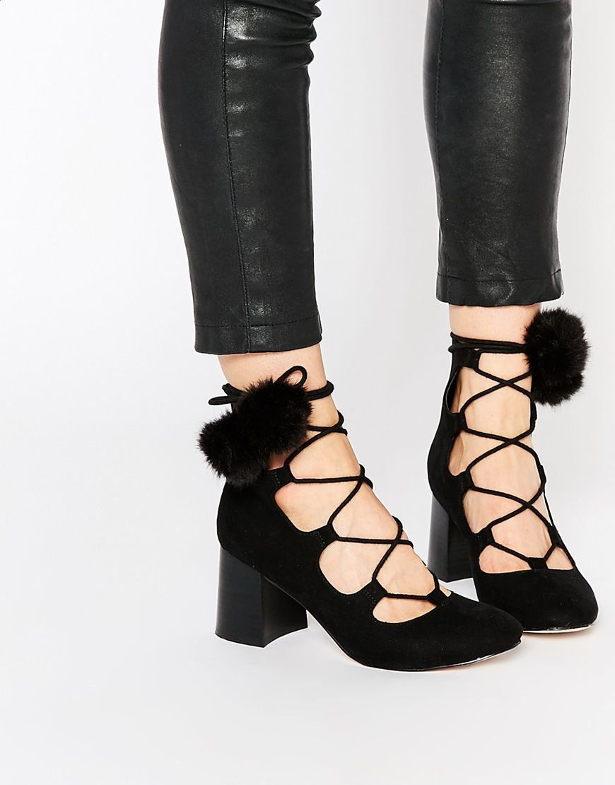 Lace up and pom detail! Amazing : http://asos.do/THrmKW