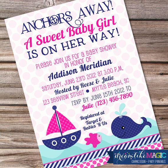 girl nautical, whale baby shower invitation, whale baby shower, Baby shower invitations