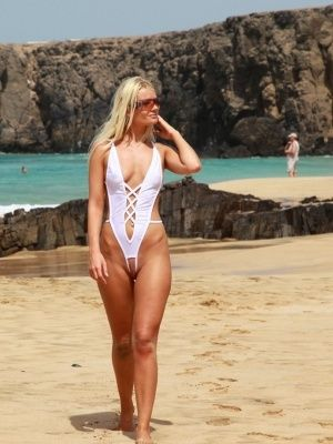 Sexy crotchless swimsuits in public