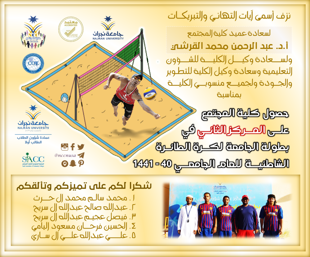 تهنئة بمناسبة حصول كلية المجتمع على المركز الثاني في بطولة جامعة نجران لكرة الطائرة الشاطئية للعام الجامعي 40 1441 University Alae