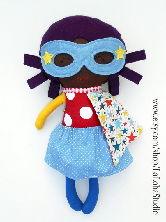 AFRO DOLL, black doll, ragdoll, superhero doll, fabric dolls, dolls ...