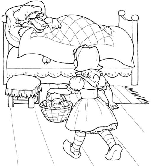 little red riding hood a little kid coloring sheet