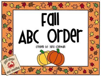 Fall ABC order FREEBIE   Library fall   First grade freebies