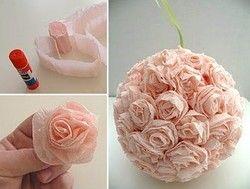 tuto bouquet boule fleur papier accessoires fleurs en papier rose en papier et bouquet. Black Bedroom Furniture Sets. Home Design Ideas