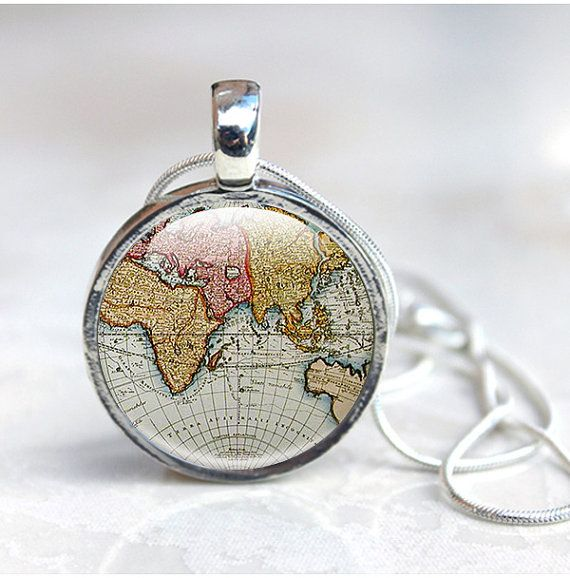 Globe necklace ancient world map pendant silver old map jewellery globe necklace ancient world map pendant silver old map jewellery gumiabroncs Images