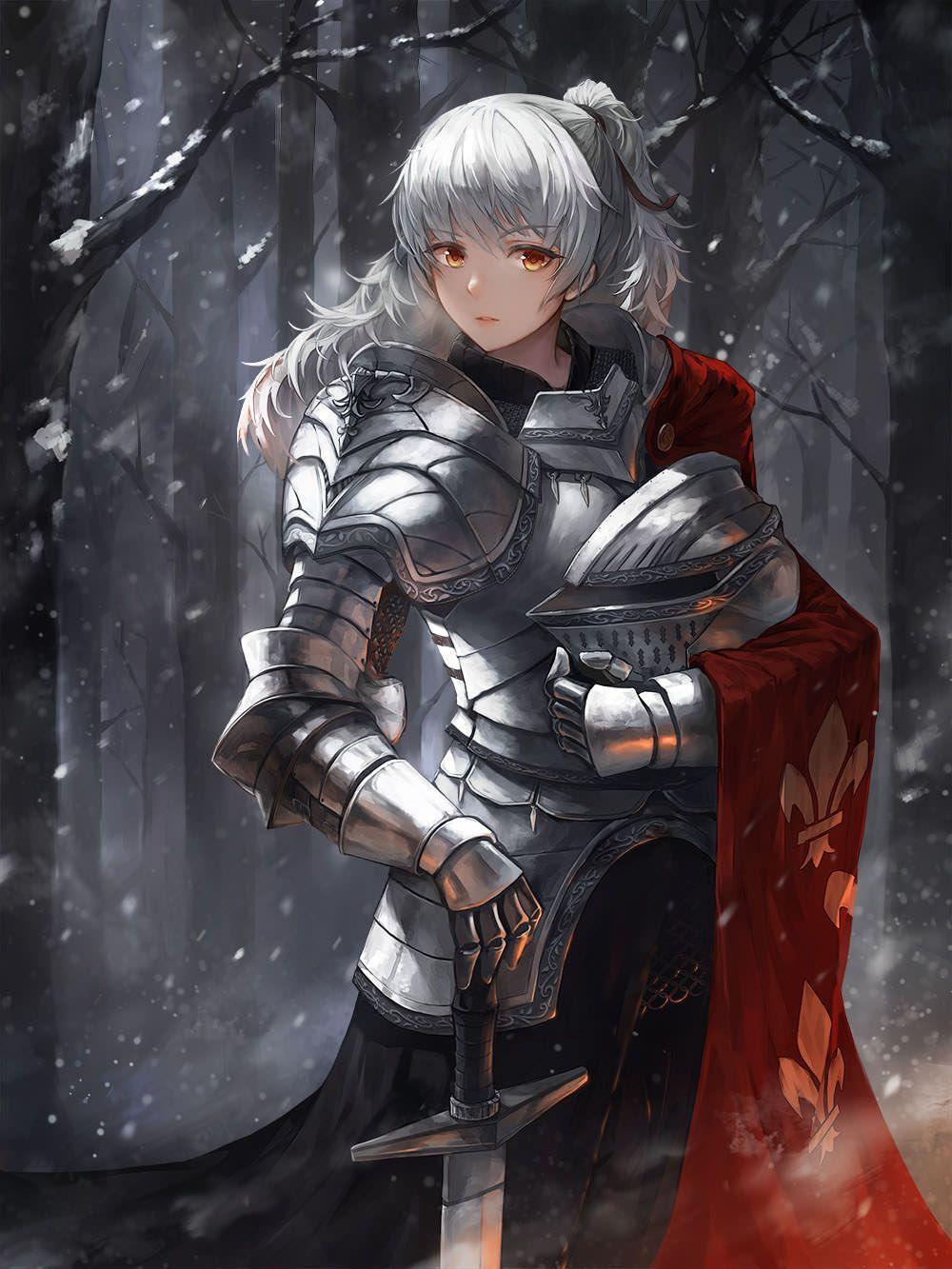 Armored Women Anime warrior, Female knight, Anime