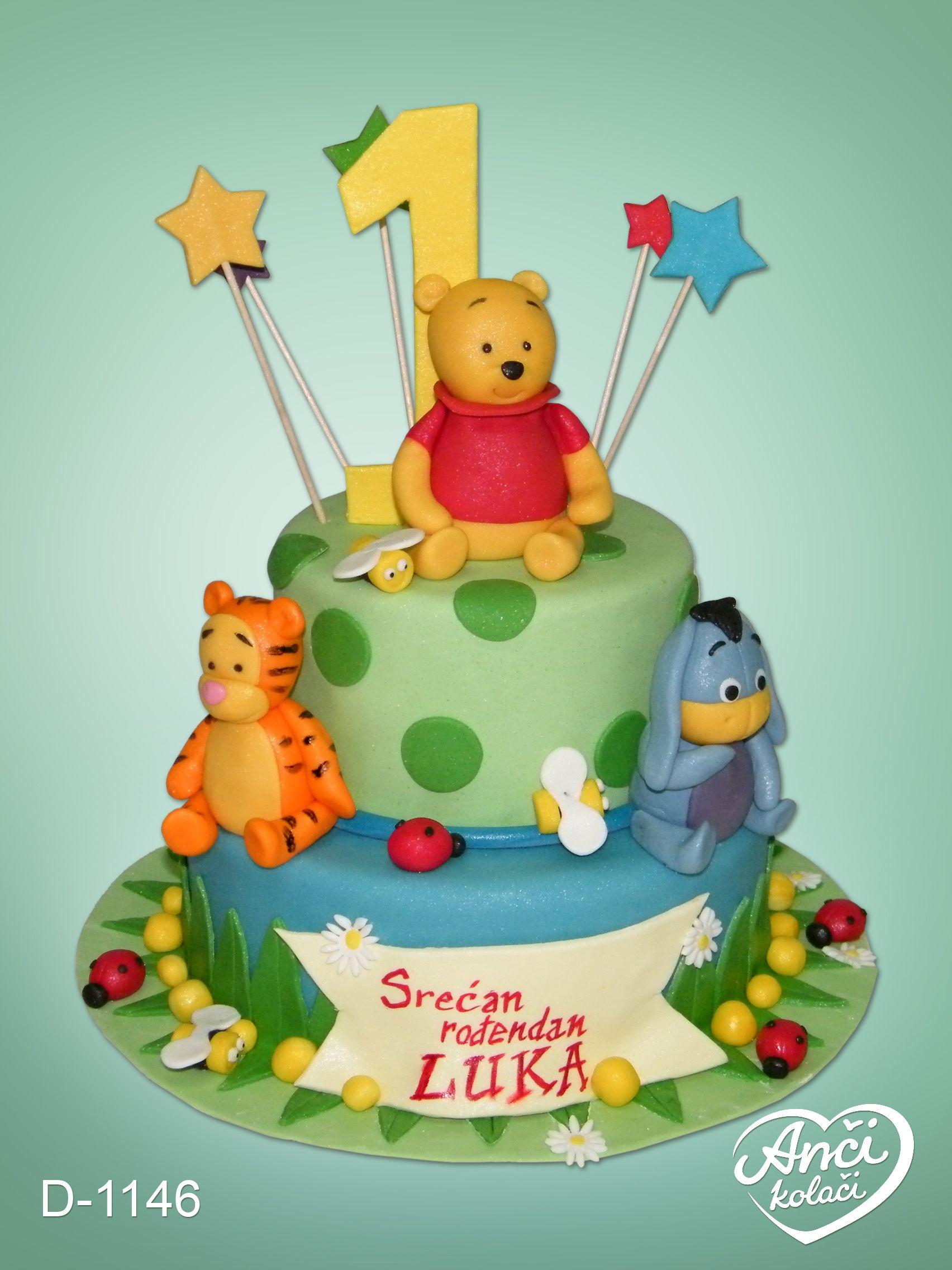 Vini Pu torta na dva sprata za 1. rođendan | Decije torte | Pinterest