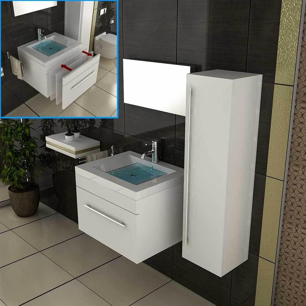 Details zu Unterschrank Design-Badmöbel mit Spiegel Badezimmer ...