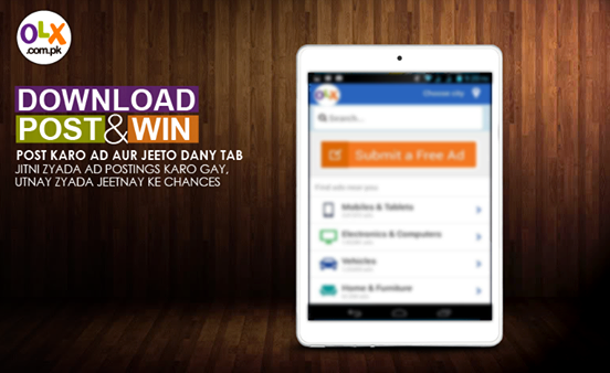OLX New Mobile App Post & Win Contest Dany Tablet jeetnay