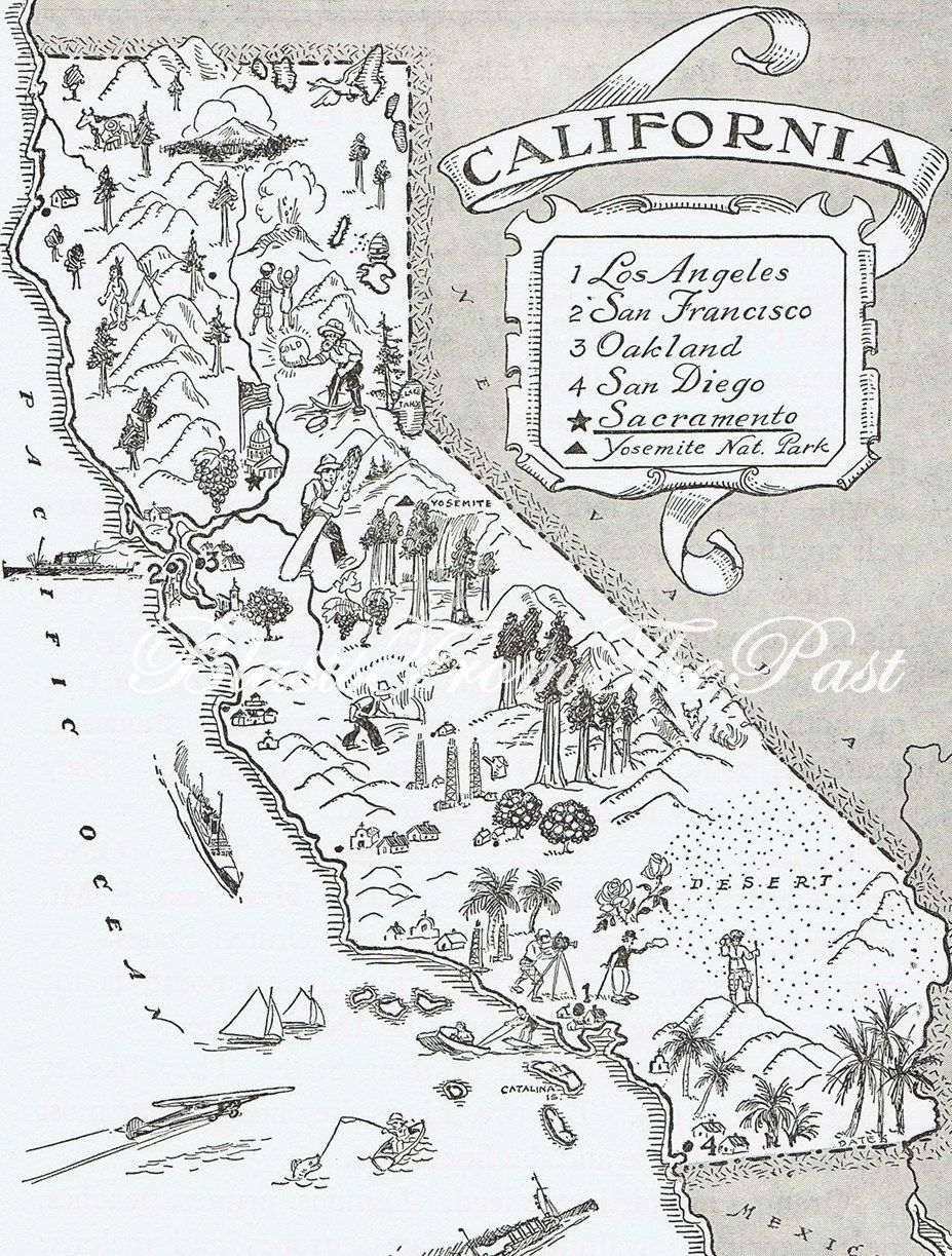 Vintage MAP of CALIFORNIA, Whimsical, Adorable, Fun, Funky ...