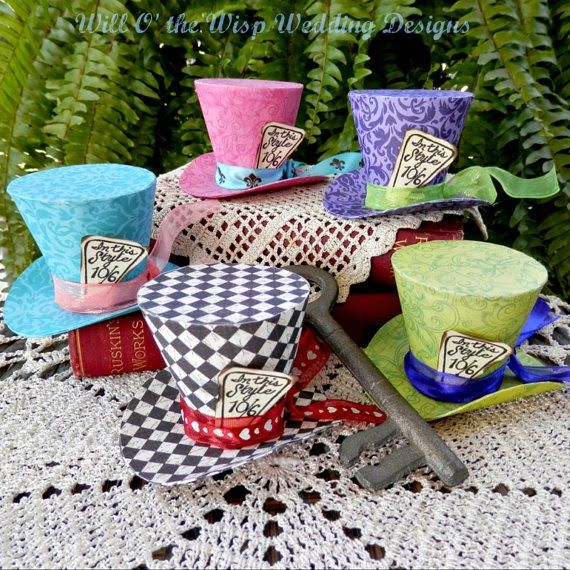 Alice In Wonderland Decorations 5 MAD HATTER Party Favors