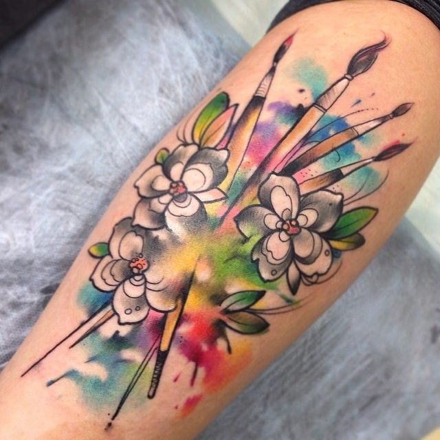 Watercolor Flowers And Paint Brushes Rainbow Tattoos Brush