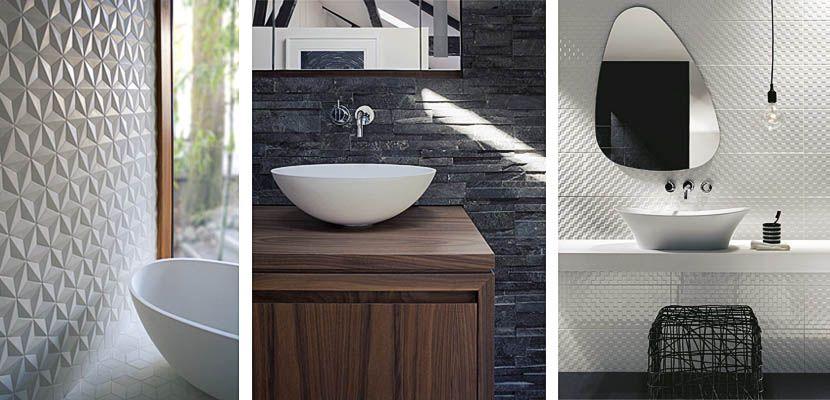 Paredes con textura en el cuarto de ba o cuartos de for Azulejos para cuartos de bano modernos