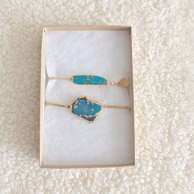 Google Earth Rough & Bar Turquoise Bracelets by Long Lost Jewelry