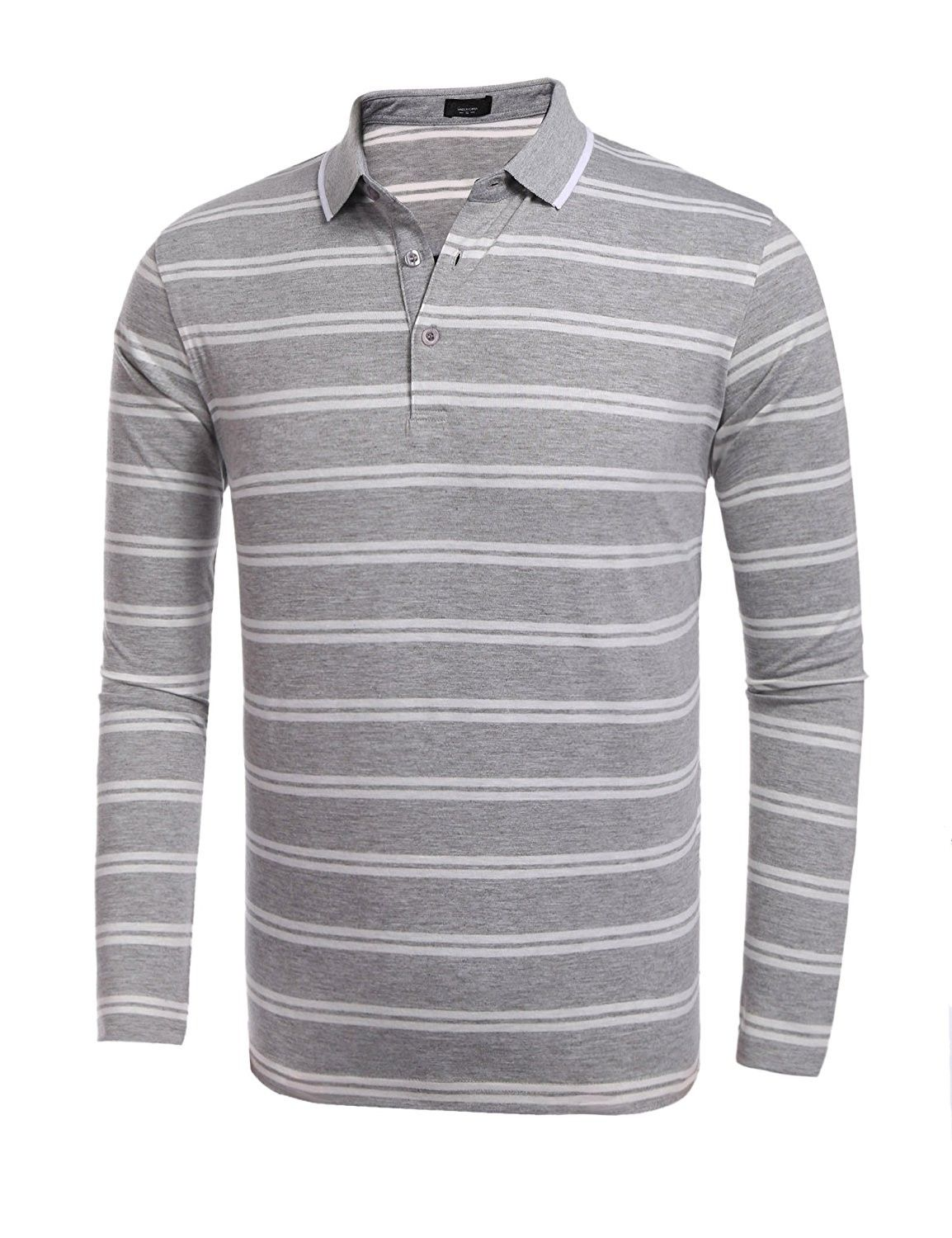 629b41b5f36b Men's Clothing, Shirts, Polos,Men's Casual Long Sleeve Striped Golf Polo  Shirt Fashion T-Shirt - Grey - CV1870KAY9O #Fashion #Shirts #men #shopping # style # ...