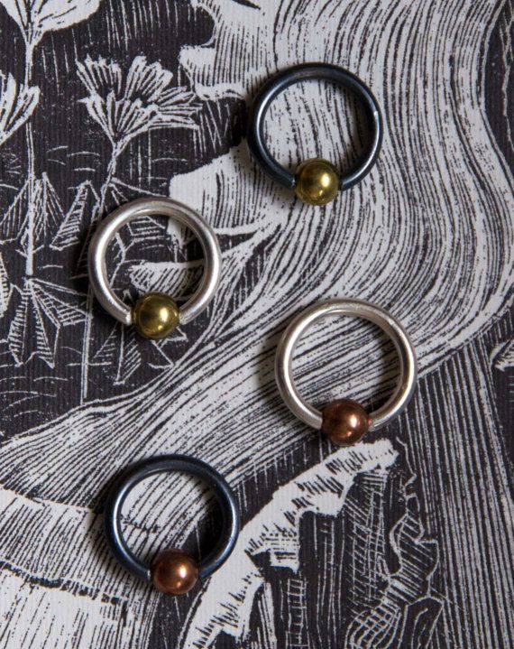 Sterling silver piercing ring with brass or copper ball earlobe ...