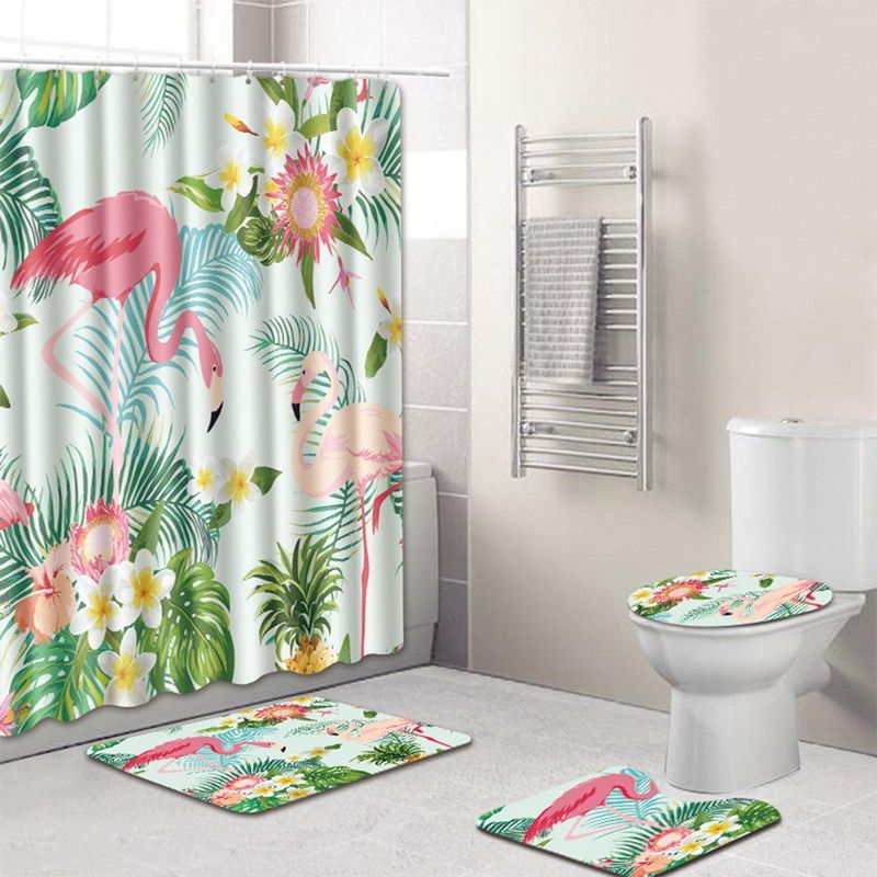 Lid Toilet Cover Bath Mat and Shower Curtain Bathroom Rugs Set Pedestal