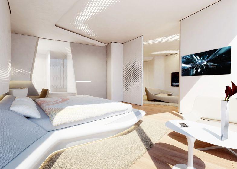 Zaha Hadid reveals interiors for ME Dubai Hotel | Bedroom ...