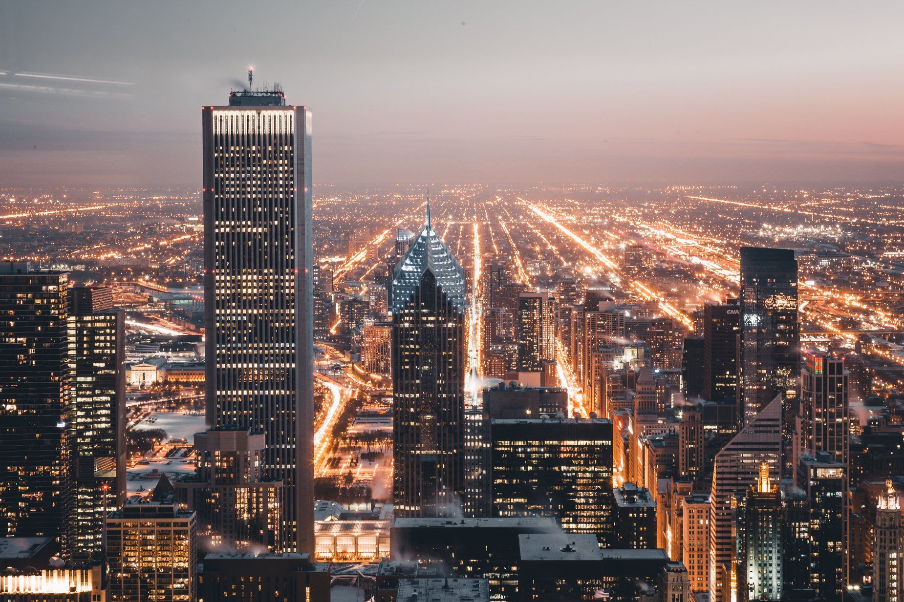 Image Of Chicago City Lights At Night This Free Stock Photo Is Also About City Busy View Urban Bright Skylin City Lights At Night Cityscape Chicago City