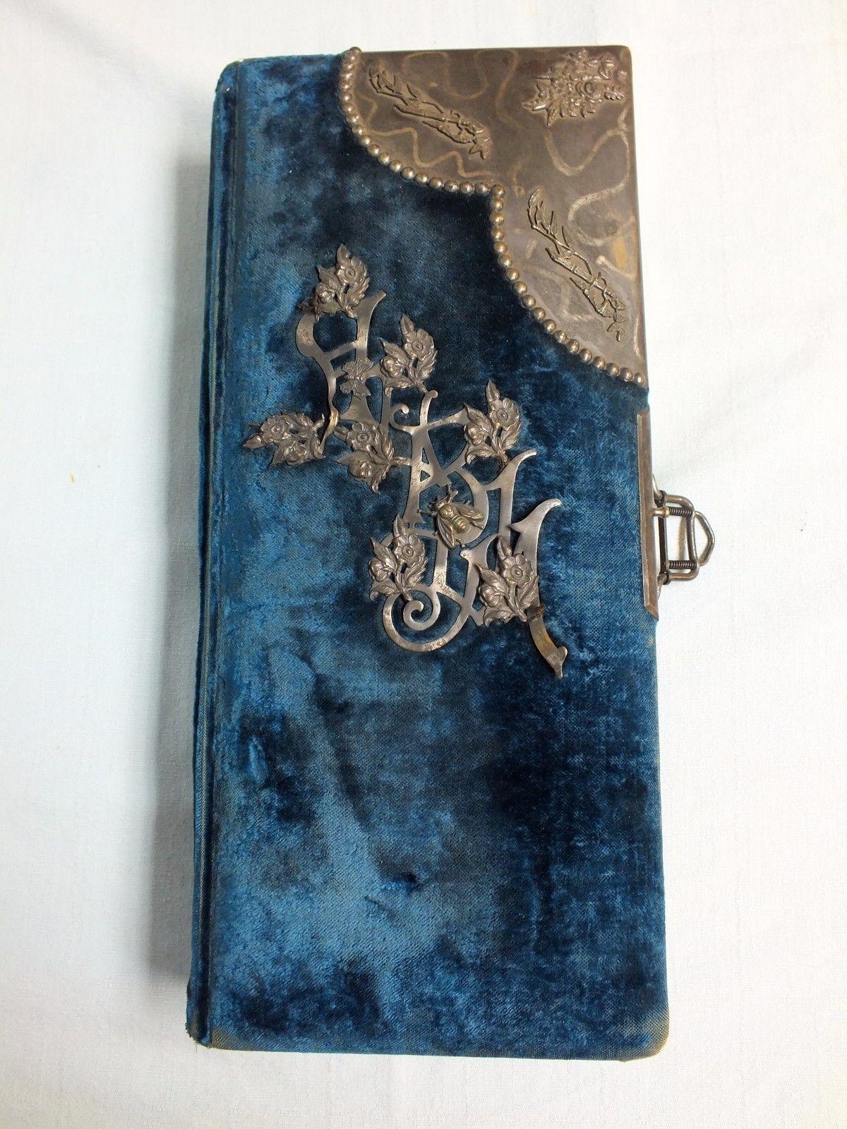 Antique Royal Blue Velvet Cabinet Photo Album Metal Decorations No Photos | eBay
