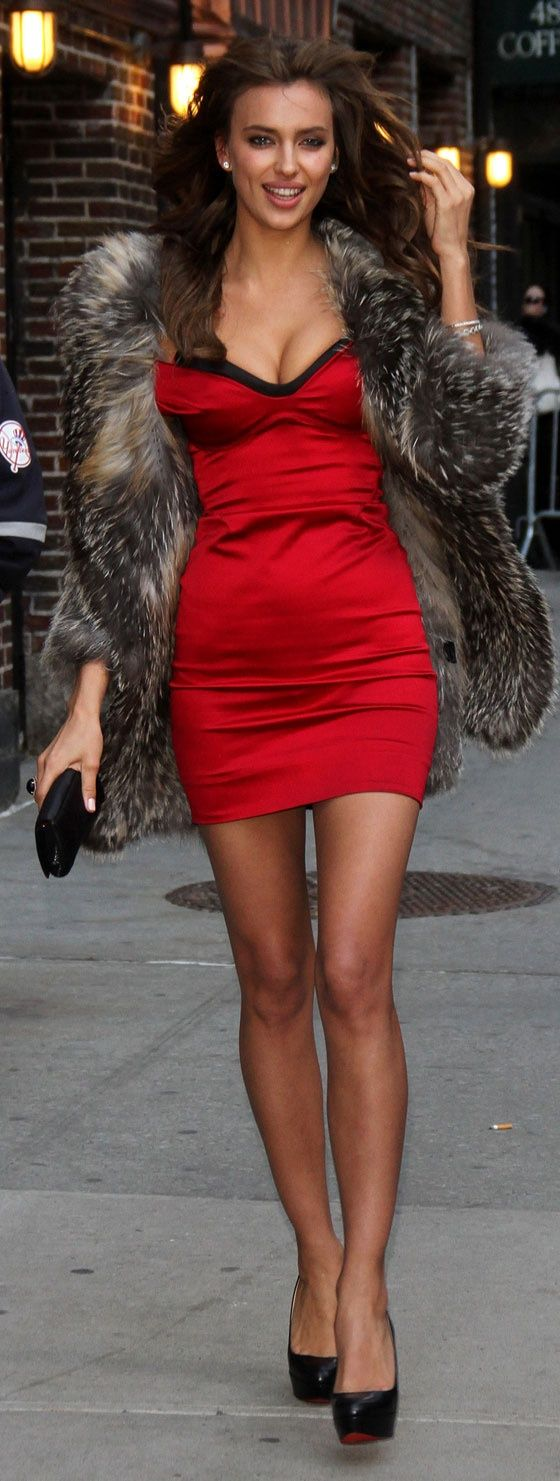 Irina Shayk wearing Charcoal Fur Coat, Red Silk Bodycon Dress ...
