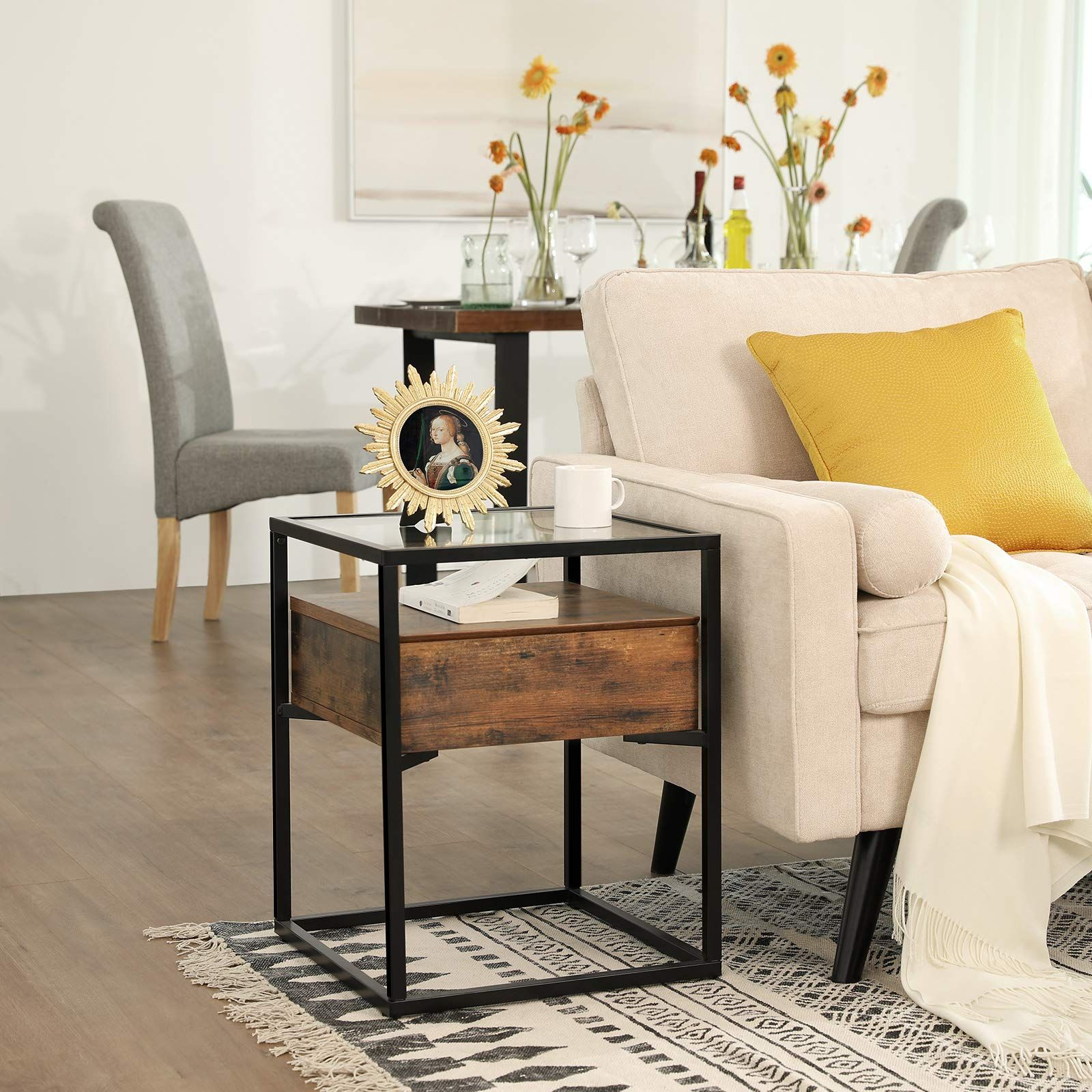 Vasagle Industrial Nightstand Decoration Ulet04bx In 2020 Industrial Side Table Furniture Glass End Tables