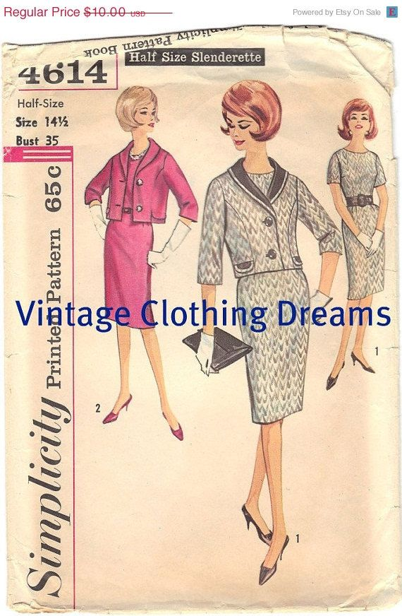 ON SALE 50s Dress Suit Vintage Sewing by VintageClothingDream, $8.50