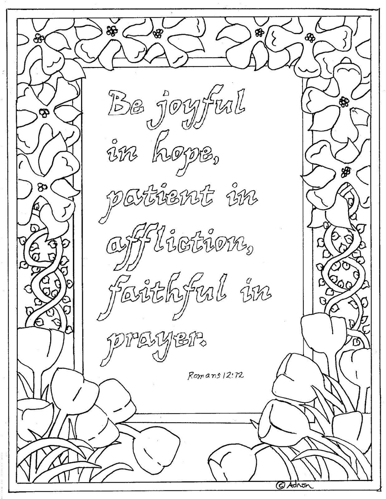 Romans+12.12.jpg 1 238×1 600 képpont | Christian Coloring Pages-NT ...