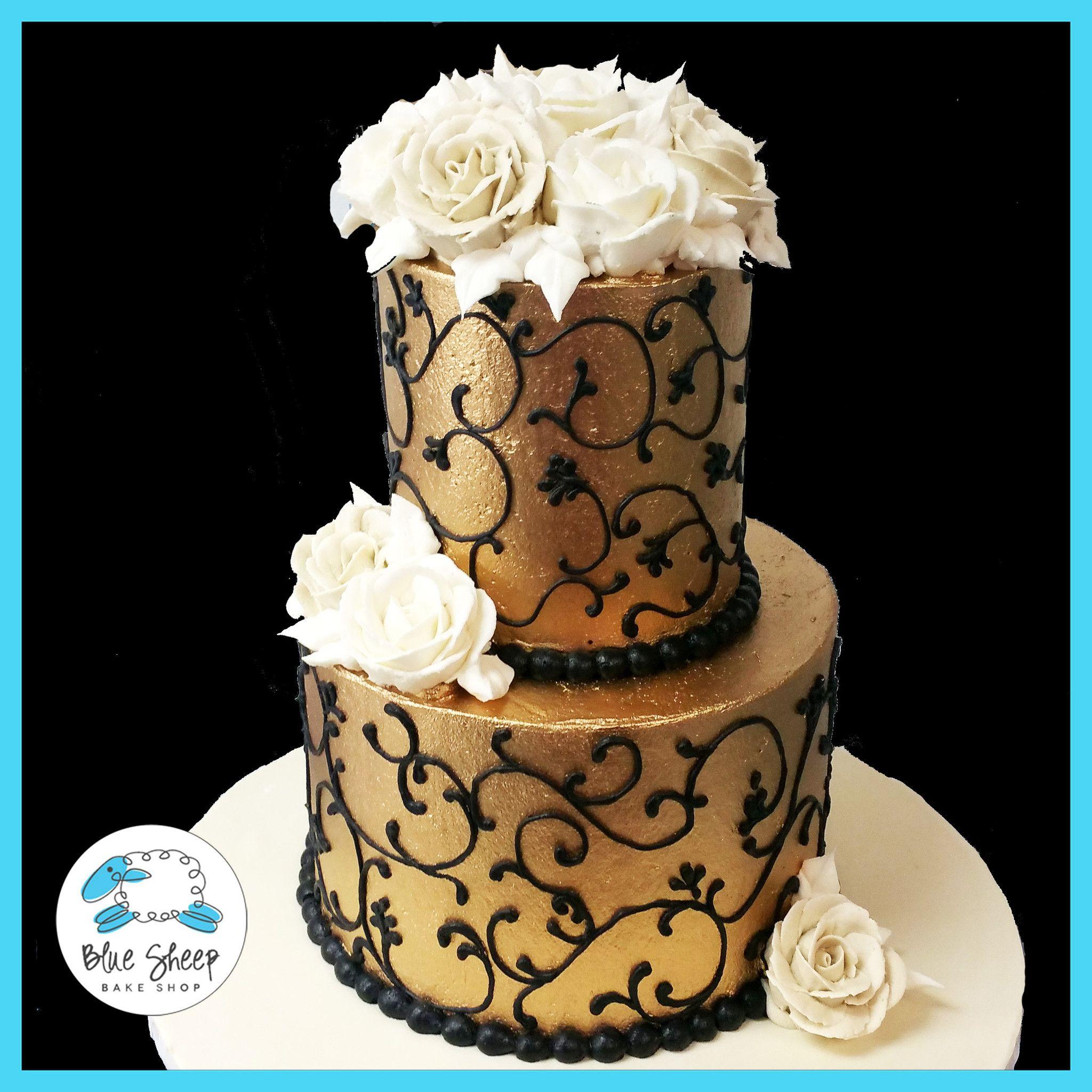 Gold and Black Buttercream Birthday cake Blue Sheep Bake Shop