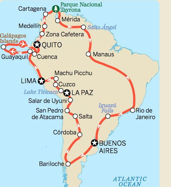 South America Itinerary Map LP  Travel To  South America