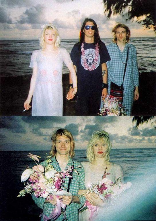 Courtney Love And Kurt Cobain Wedding.Dave Grohl With Courtney Love And Kurt Cobain On Their