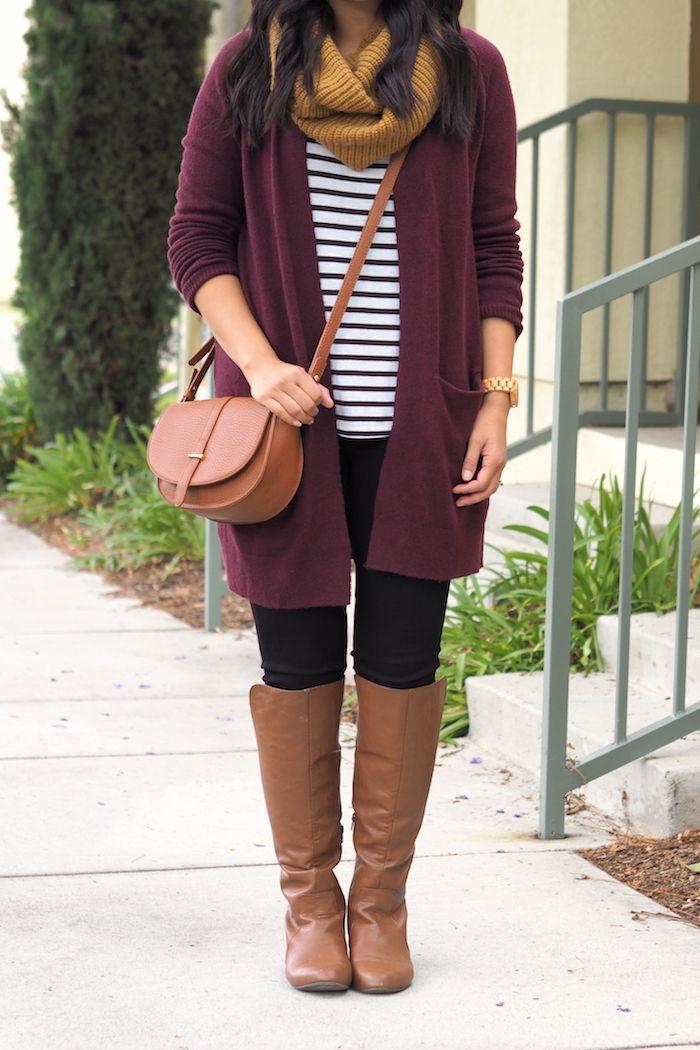 3 ways to wear a maroon cardigan  maroon cardigan outfit