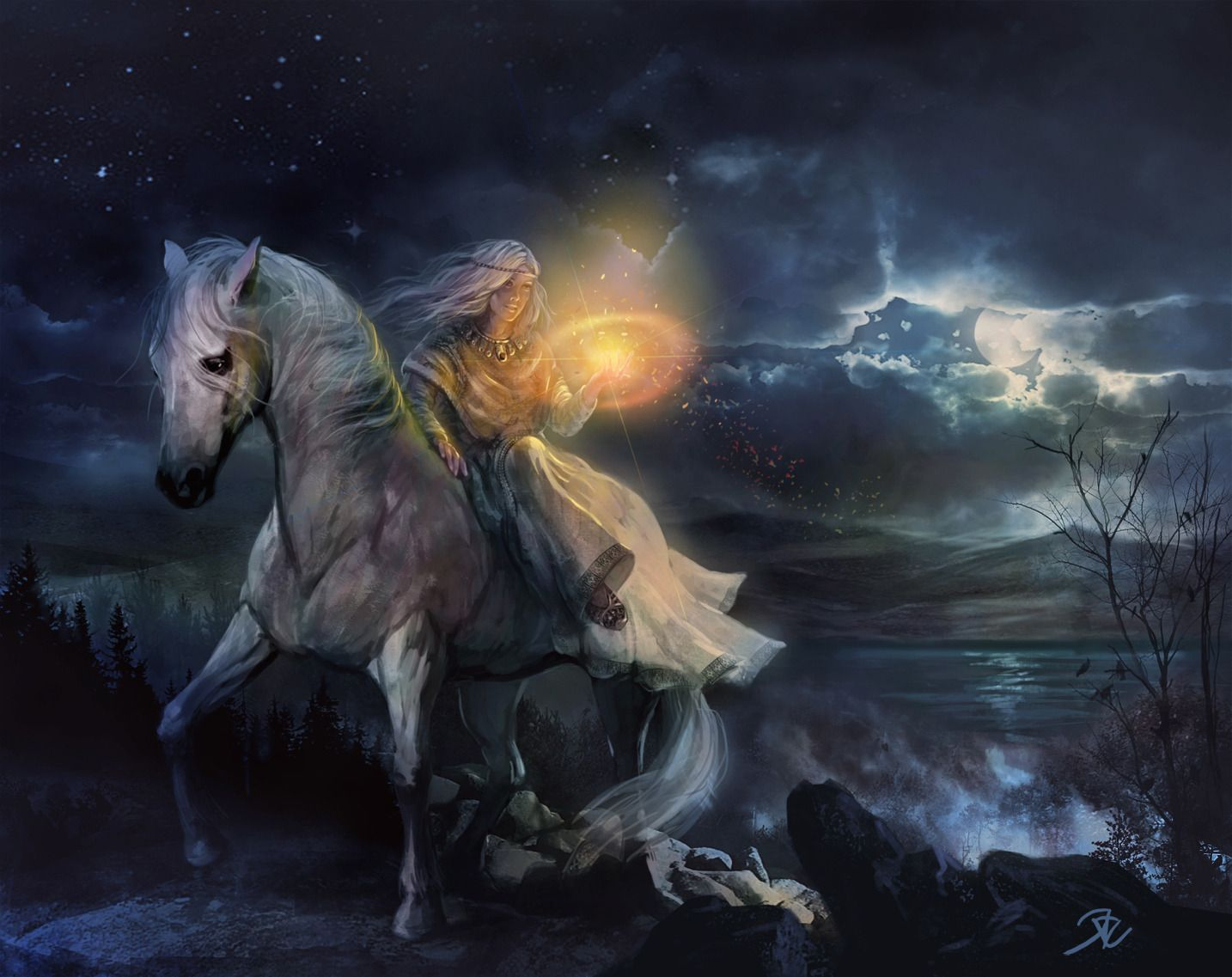 Moon With Woman . Light 2d Fantasy Horse Night Girl Mage
