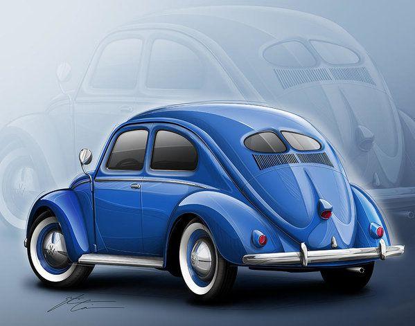 Volkswagen Beetle Vw 1948 Blue Art Print by Etienne Carignan